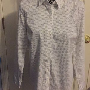 Apt 9 White Polka Dot Long Sleeve